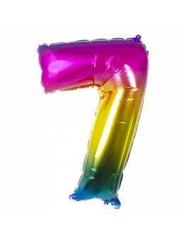 Ballon chiffre 7 arc en ciel
