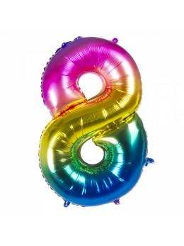 Ballon chiffre 8 arc en ciel
