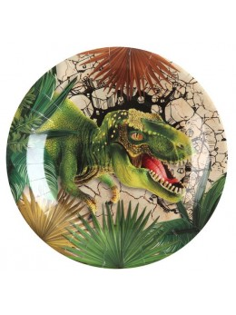 10 Assiettes carton dinosaure 23cm