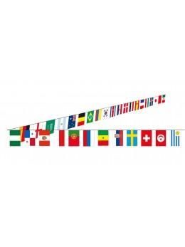 Guirlande tissu drapeaux 32 pays - 10 m