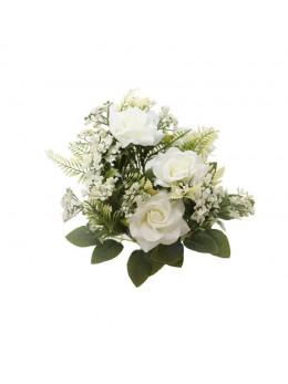 Bouquet de 9 roses avec feuillage blanc