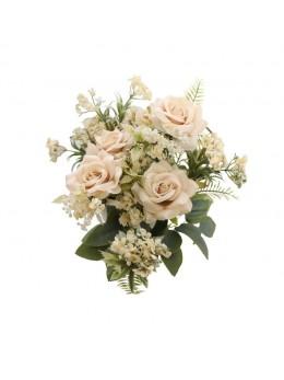 Bouquet de 9 roses avec feuillage ivoire