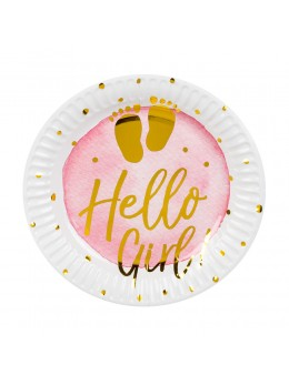 6 assiettes fille Hello Girl