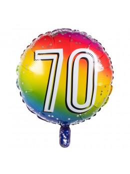 Ballon alu 70 ans multicolore