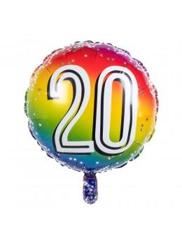 Ballon alu 20 ans multicolore