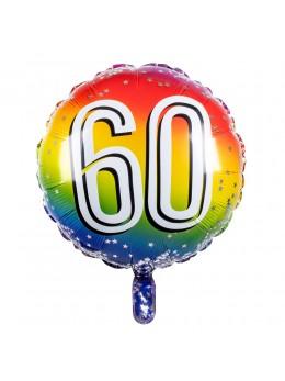 Ballon alu 60 ans multicolore