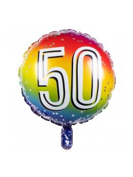 Ballon alu 50 ans multicolore