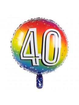 Ballon alu 40 ans multicolore