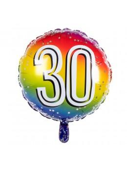 Ballon alu 30 ans multicolore