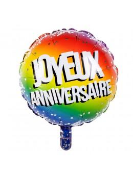 Ballon alu Anniversaire multicolore