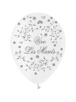 8 Ballons 30cm Vive les mariés Blanc