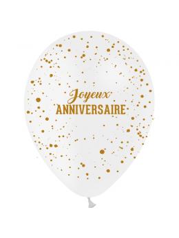 8 Ballons joyeux anniversaire métallisé