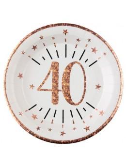 10 assiettes 40 ans rose gold