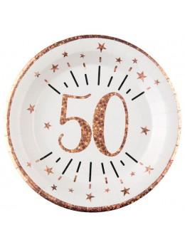 10 assiettes 50 ans rose gold