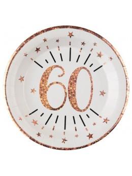 10 assiettes 60 ans rose gold