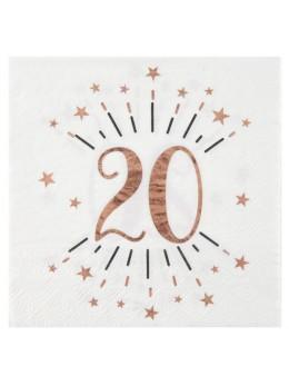20 serviettes 20 ans rose gold