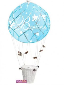 Ballon montgolfière baptème bleu