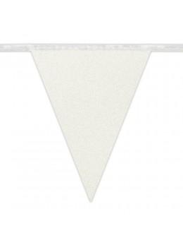 Guirlande fanions carton blanc pailleté 6m