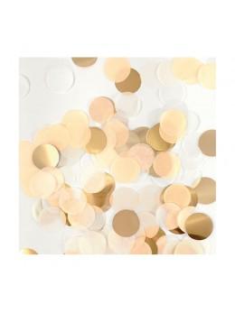 Sachet 15g confetti 2.5cm pêche blanc et or