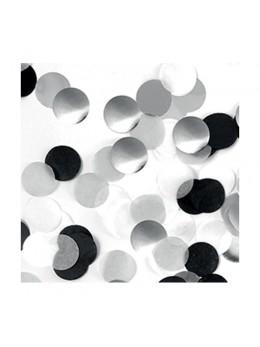 Sachet 15g confetti 2.5cm argent blanc et noir