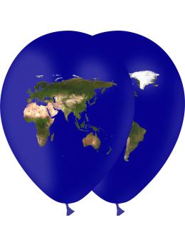 8 Ballons planisphère 30cm