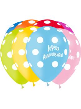 8 Ballons anniversaires pois 30cm