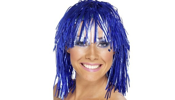 Perruques lamées - Rose, bleue, argent